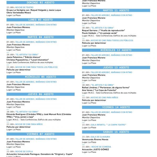 Programación XV Encuentros de Arte